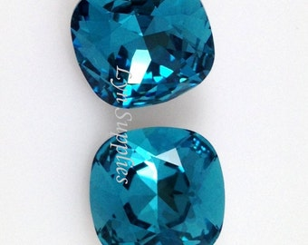 4470 INDICOLITE 12mm Swarovski Crystal Fancy Stone Cushion Cut,Teal Blue