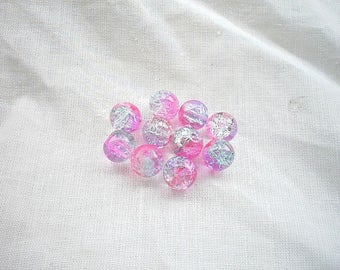 10 8mm pink purple Crackle glass beads