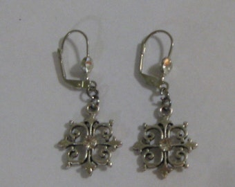 Pretty Rhinestone Earrings with Leverback Wires