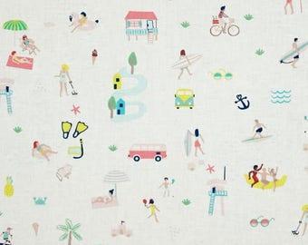 Tropical Fabric by the Yard, Quilt, Beach, Novelty, Summer, Sun, Cotton, Surf, Small Print, Seaside, Tropic Like its Hot, Dear Stella, Decor