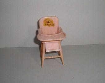 Renwal Pink Baby Highchair Vintage Tin Dollhouse Furniture Miniature