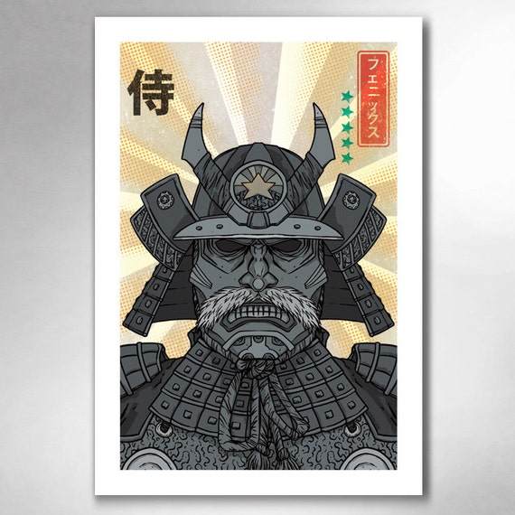 SAMURAI PHOENIX  13x19 Art Print by Rob Ozborne
