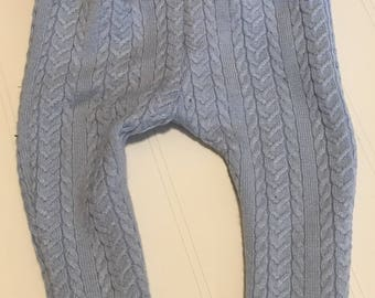 Light blue cable knit sweater pants, Navy leggings, blue cable knit pants, winter boys clothes, warm winter sweater pants 3-6 months RTS