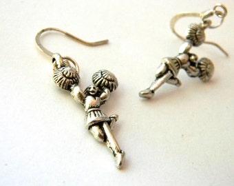 Cheerleader Earrings Silver Color Dangle Earrings