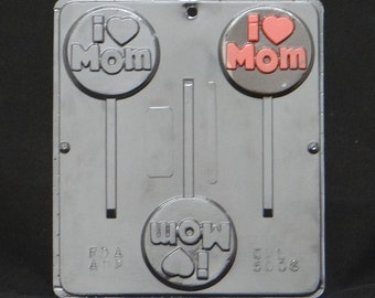 I HEART (LOVE)  Mom Lollipop Chocolate Candy Mold Mothers Day 5006