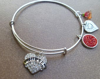 Nurse Crystal Studded Heart Charm Silver Plated Adjustable Bangle Bracelet