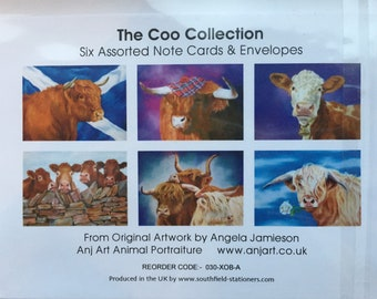 """Pack of six blank cards - """"The Coo Collection"""""""