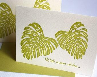 Letterpress Cards Hawaii Leaves Monstera Warm Aloha Golden Green