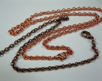 COPPER CABLE Necklace, Finished Chain, 4.25mm x 3.6mm links, Choice of Length, Lobster Claw Clasp
