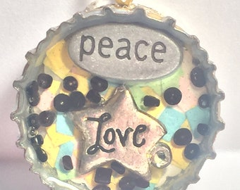 Peace and Love Bottle Cap Pendant