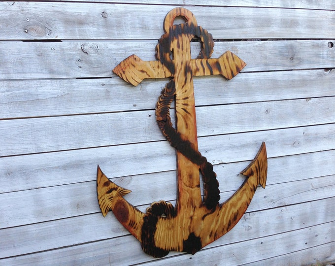 Father's Day gift, Large Anchor Wood Burning Wall Art, Outdoor Anchor Sign, Beach House Decor.