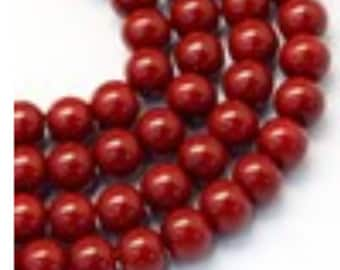 Glass Pearl Beads - 42 pc - Dark Red Pearls - 8mm Red Pearls - Dark Red Beads - Red Pearls - Round - Dyed