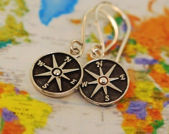 Patina Star Compass Earrings