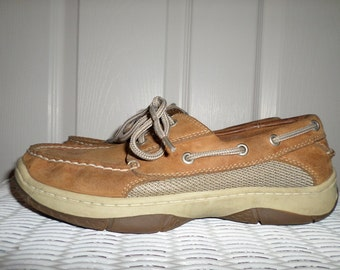 Mens Deck Shoes Brown Size 7 Leather Loafers Slip On Shoes boat Shoes
