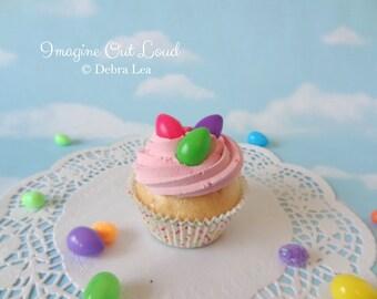 Fake Cupcake Pink Rainbow Jelly Bean Eggs Faux Photo Prop Kitchen Decor Favor