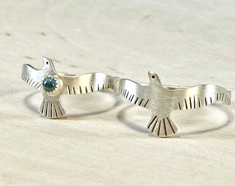 Love Birds Sterling Silver Couples Ring Set or Wedding Bands with Blue Topaz - RG706