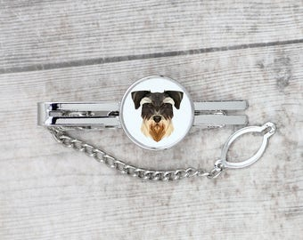A tie tack with a Schnauzer dog. Men's jewelry. A new collection with the geometric dog