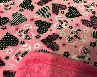 Minky Blanket Pink and Grey Heart Print Minky with Hot Pink Dimple Dot Minky Backing - Perfect Size a Toddler or Child 36 x 42