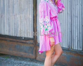 SALE! Gentle Bohemian embroidered dress Vyshyvanka, boho, pink dress, modern folk, luxury dress, gypsy, kimono dress, design embroidery
