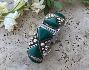 Sterling Silver and Jasper Bracelet | Green  Bracelet | Jasper Jewelry | Vintage Bracelet | Unique Bracelet | Silver Bracelet | Bohemian