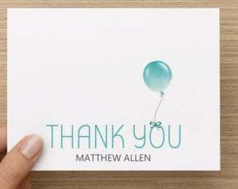 Baby Boy thank you card:Personally designed thank you with balloon and name