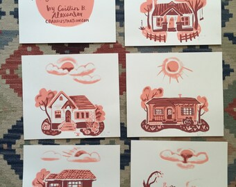 Vintage Homes Screen Print Set