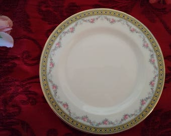Art Deco Style Antique Plate, Huchenreuther Selb Bread Butter Plate Made in 1900 Bavarian China Made in Germany Fine Porcelain Pink Roses