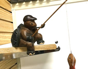 Fishing Turtle Wooden Hand Carved - Place it On the Edge - House Decoration - Office Decoration - Great Gift