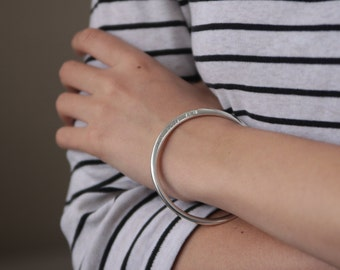 Jac and Hugo personalised bangle in solid 925 Sterling Silver