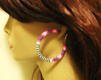 Hoop Earrings - Beaded Hoop Earrings - Stud Earrings - Native Inspired Beaded Earrings - Peyote - Seed Bead Hoop Earrings - Gifts For Her