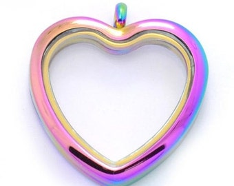 Rainbow Heart Floating Locket Living Memory Lockets Jewelry Making Supplies - 63g