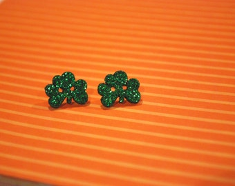 Clover Earrings -- Green Clover Studs, St. Patrick's Day Earrings, St. Pattys Day Studs, Luck of the Irish, Green Clover, Lucky Earrings