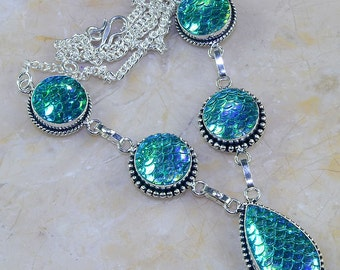 "Tear Drop Dichroic Glass Princess Style Necklace 18 1/2"" long"