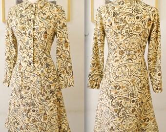 1960's Cream Autumn Woodland Wool Dress / Mad Men / Rare Collectable Retro