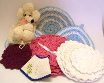 Mid Century Hand Crocheted Pot Holders and Poodle Toilet Roll Cover Vintage