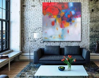 etra large art print canvas 48x48 square canvas,Large Red  Navy Abstract painting acrylic on canvas oversized art bold contemporary painting