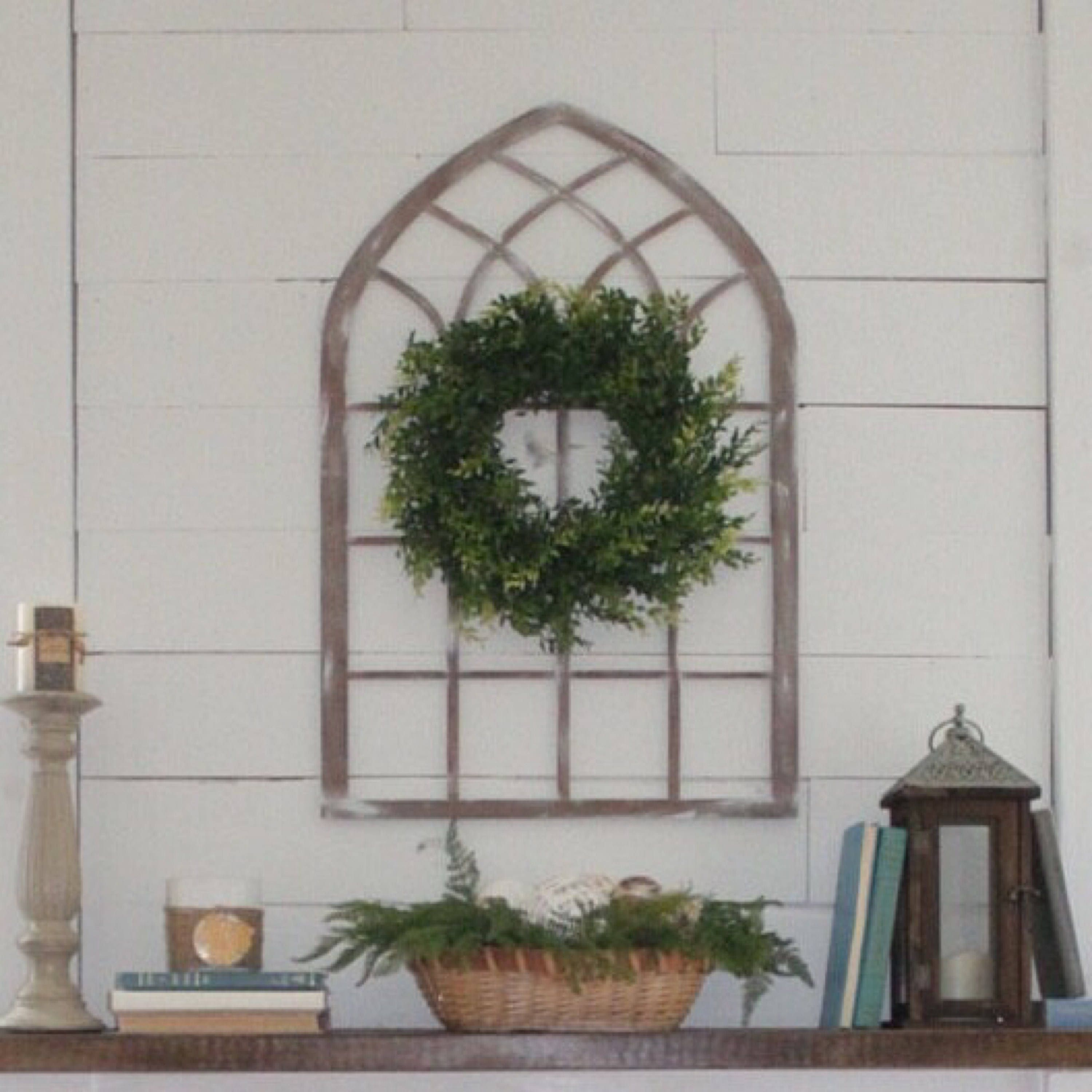 Window Hanging Decorations: Laser Cut Cathedral Window Arch Farmhouse Style