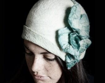 White Cloche - White - White Hat - Hat with Flower - Hand Felted Merino Wool - Leaf - Flower - Cloche Hat