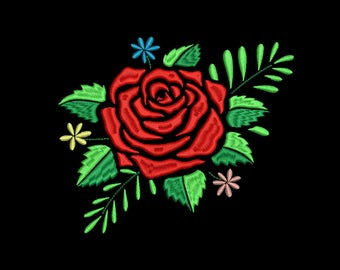 Red Rose Embroidery Design #6 - 5 SIZES