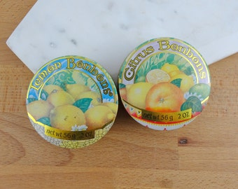 Pair of Vintage Crabtree & Evelyn Bonbon Tins | Collectable Metal Advertising Tins | Made in France 1984