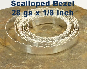 """28ga x 1/8"""" Scalloped Bezel Wire - Fine Silver - Choose Your Length"""