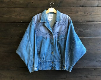 Vintage 90s Patterned Denim Jacket