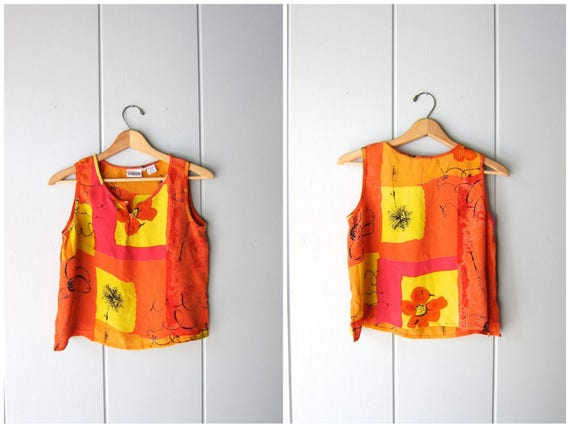 Floral Tank Top 90s Crop Top Sleeveless Pink Yellow Orange Blouse Minimal Boho Beach Tank Top Vintage Rayon Cropped Top Womens Small XS