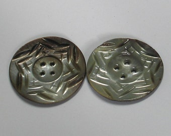 SALE Antique Large 37mm Carved 6 Pointed Star  Abalone Buttons Pair 2 Pieces