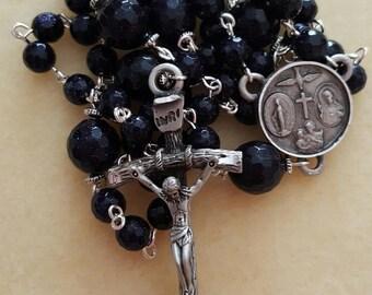 Blue Goldstone Rosary