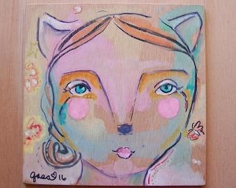 Kitty Girl / Mixed Media Painting