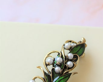ON SALE  Barrette With Lily Of The Valley,  Flower Hair Clip, Women Accessories, Barrette Clip,  Hair Accessories, Birthday Gift, UK