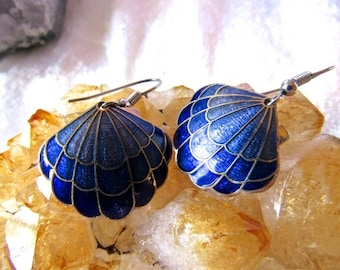Vintage Enameled Cloisonne blue Shell design Earrings/Valentine Special