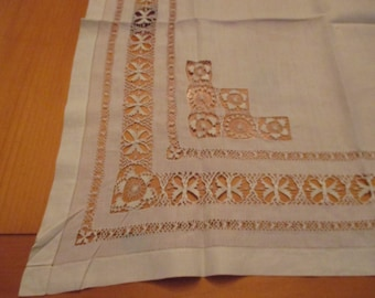 "24"" Square Antique Linen and Tenerife Teneriffe Lace Butterfly Tablecloth Table Topper  Scarf  VGC but Needs TLC"
