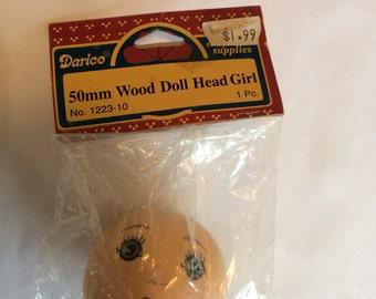 Vintage Wood Doll Head